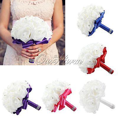 New Wedding Dec Bridal Bouquet Rose Silk Pearls Handmade Bridesmaid Flowers Posy