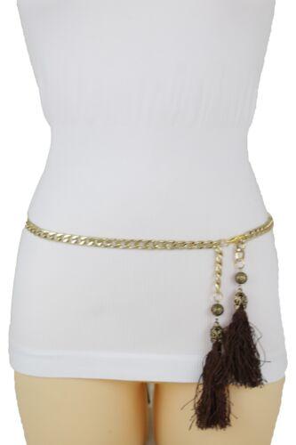 Women Fashion Hip Waist Belt Gold Metal Chain Long Brown Fringes Tassel XS S M