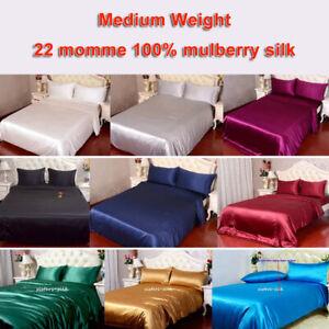 22-Momme-100-Seide-Bettbezug-155X220cm-amp-Kissenbezug-Bettwaeschegarnituren