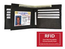 Black RFID Safe Leather Mens Hipster Card Bifold Center Flap Wallet 12 Slot