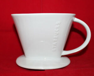 Starbucks Pour Over Drip Filter Coffee Ceramic White Cone Holder Over Mug Cup