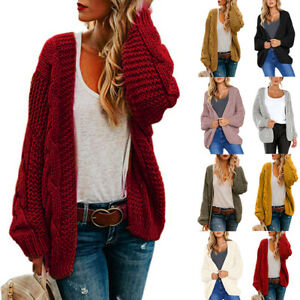 Womens-Ladies-Chunky-Knitted-Sweater-Open-Front-Pocket-Coat-Long-Midi-Cardigan