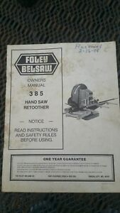 Original-Foley-Belsaw-Model-385-Hand-Saw-Retoother-Owners-Manual