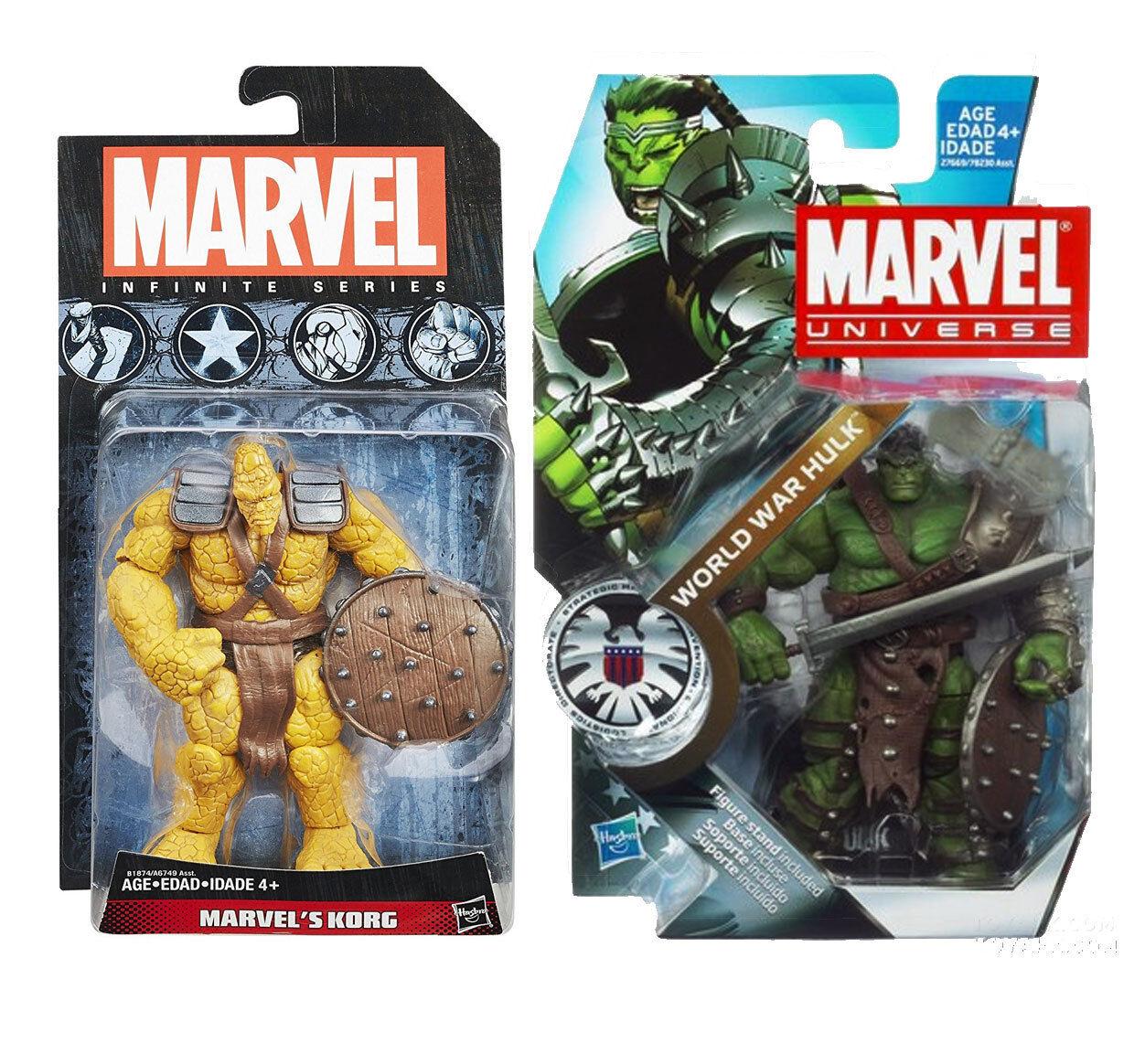 Marvel Universe WORLD WAR HULK & KORG 3.75  figures RARE, avengers, ragnarok