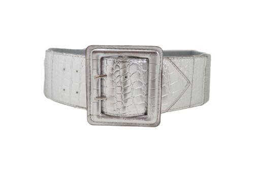 Women Silver Faux Leather Wide Elastic Belt Square Buckle Hip High Waist M L XL