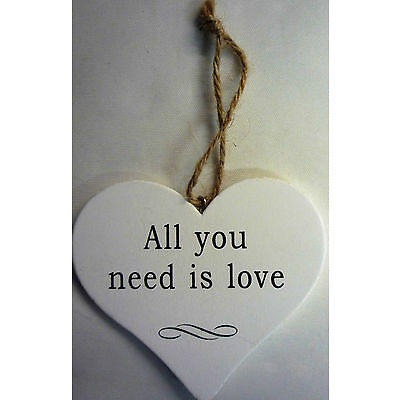 Wood Hanging Shabby Chic Love Heart 'Love, Friends, Home, Wine, Family Etc'