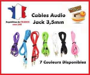 Câble Prise jack male 3,5mm cordon auxiliaire audio stéréo adaptateur 1,1M