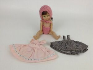 Vintage-Ginny-Muffie-Vogue-Doll-7-034-w-3-Outfits-Jointed-Hard-Plastic-Brown-Hair
