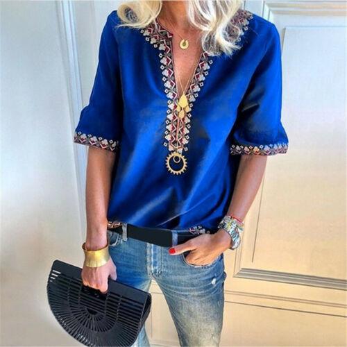 Damen Bluse V-Ausschnitt Tops Oberteile Freizeit Kurzarmshirt T-Shirt Hemdbluse