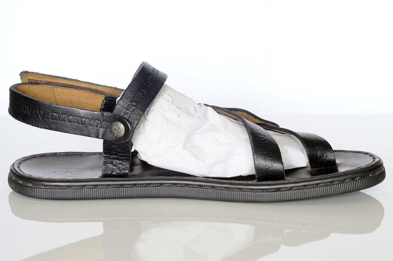 Emporio Armani Men's Black Leather Sandals Sz 10 - image 7