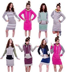 Damen Pulloverkleid Sweatshirtkleid Longpulli Langpullover Kapuzen Hoodie Civu