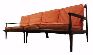 Details about Mid-Century Danish Modern Walnut 2-Piece Sectional Sofa on  Spindle Legs