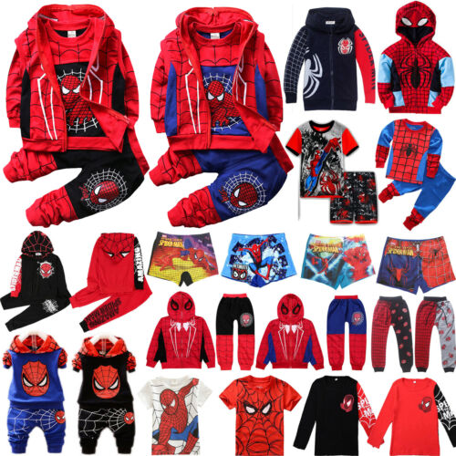 Kids Boys Spiderman Superhero Hoodie Sweatshirt Coat Waistcoat Pants Set Clothes