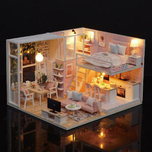 DIY-Miniature-Loft-Dollhouse-Kit-Realistic-3D-Pink-Wooden-House-Room-Toy-Q7W9