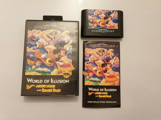 World of ILLUSION  Mickey Mouse & Donald Duck Mega Drive PAL Uk COMPLETO RARO