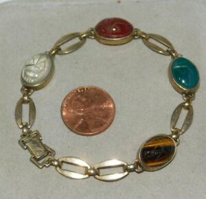 Sterling-or-Rempli-Vert-Onyx-de-Tigre-Eye-Cornaline-7-034-Bracelet-1d-27