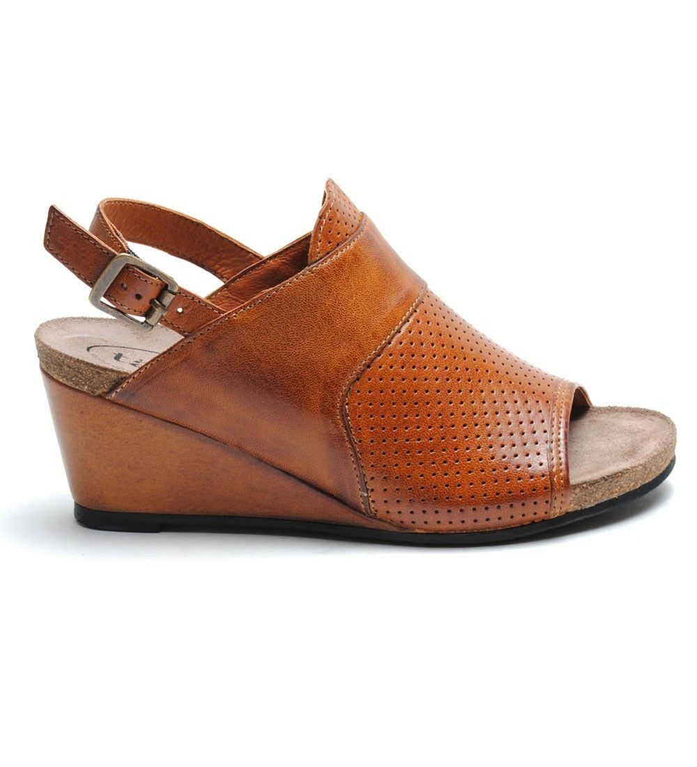 TAOS Cavalier Hazelnut Wedge Sandal Heel Leather Strap Slipper Womens  150