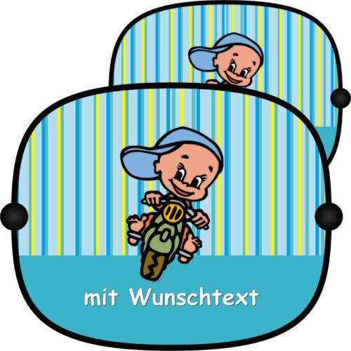 Baby-Sonnenschutz bunt 2x Sonnenschutzblende Baby Kinder Name Auto Neu B169