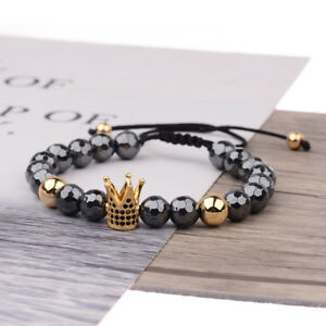 Women-Men-039-s-CZ-King-Crown-Natural-Stone-Adjustable-Bracelets-Charm-Jewelry-Gift