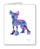 Blue Chinese Crested Dog Note Cards With Envelopes