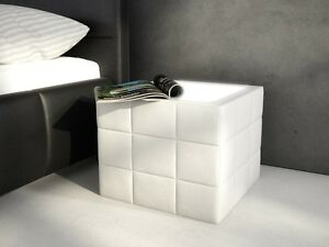 Nachttisch Würfel Weiß mit LED Nachtschrank Schlafzimmer Gästezimmer ...