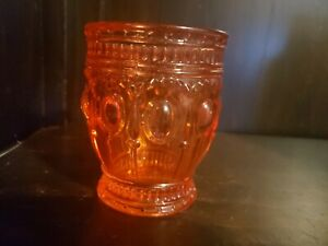 Depression-Glass-Cranberry-Pinkish-Orange-Glass-Jar-Tumbler-4-034-Height