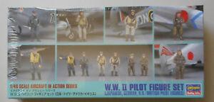 WWII-Pilot-Figure-Set-Japan-US-German-British-1-48-Scale-Hasegawa-Model-Diorama