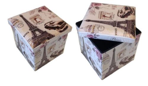 Hocker Sitzhocker Aufbewahrungsbox Sitzwürfel Fußbank Sitzbank Paris beige