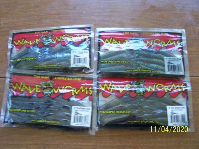"""4 Colors lot of 4 Wave Worms 3/"""" Tikki Grass Craw"""