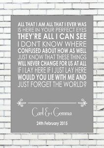 Chasing Cars Grey Heart Song Lyric Quote Print