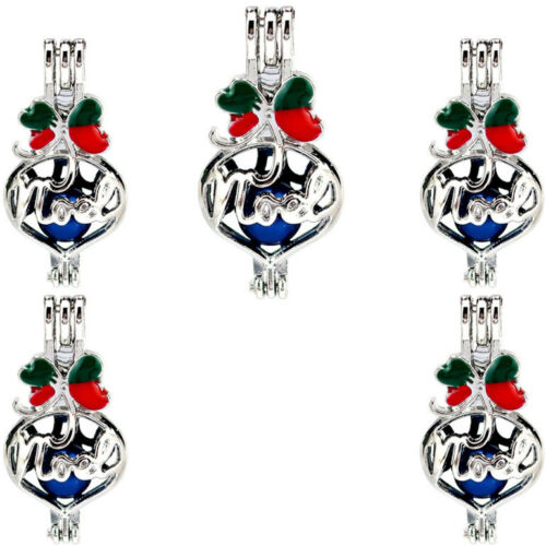 """5X-K1135 Sliver Color Pearl Cage Words/""""Noel/""""Christmas Diffuser Locket Charm"""
