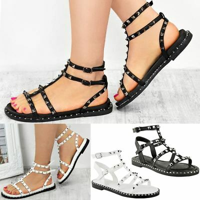 Womens Ladies Flat Black Silver Studded Sandals Rock Strappy Summer Size UK
