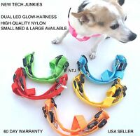Ntj Led Glow-in-the-dark Harness Dog Pet Night Safety Adjustable Flash Light Up