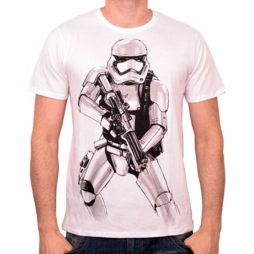 NEW OFFICIAL STAR WARS STORMTROOPER SKETCH DRAWING WHITE T-SHIRT