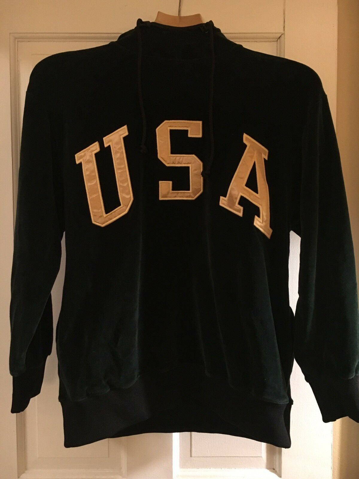 Vintage Polo Sport Ralph Lauren Grün Velour USA Spell Out Hoodie Small