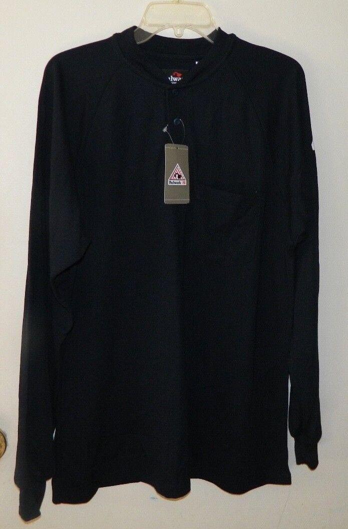 New Men Bulwark FR Flame Resistant Solid Navy bluee Long Sleeve Henley Shirt M