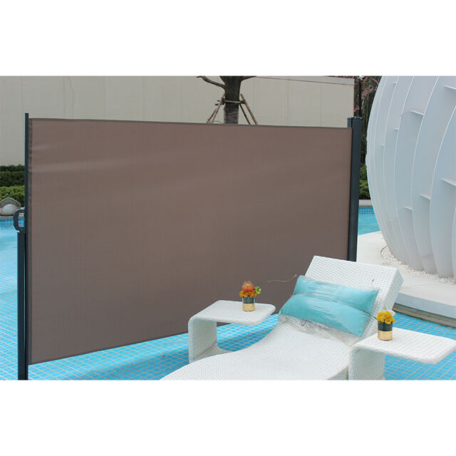 """71/""""x118/""""Patio Retractable Privacy Divider Folding Screen Sunshade Outdoor Awning"""