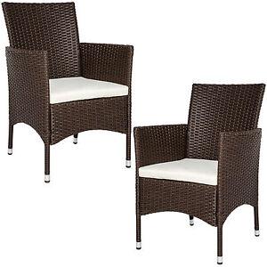 2er set polyrattan st hle gartenstuhl sessel rattanstuhl stuhl braun b ware ebay. Black Bedroom Furniture Sets. Home Design Ideas