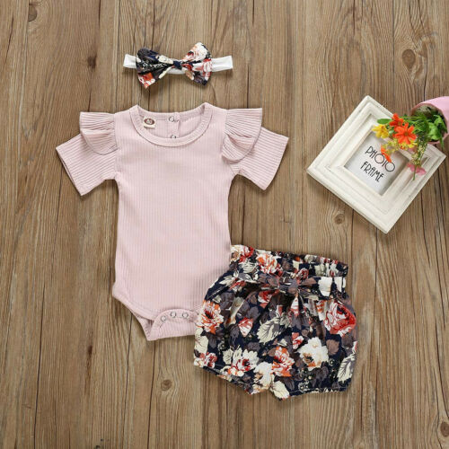 2PC Newborn Kid Baby Girl Outfit Clothes Romper Bodysuit+Flower Print Shorts Set