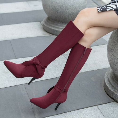 Details about  /Elegant Women Wine Red//Black Pointy Toe Casual Stilettos Mid Calf Boots 44//48 D