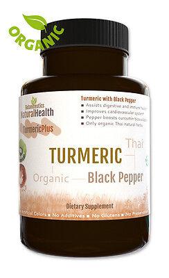 Organic Turmeric with Black Pepper 120 Capsules:  Piperine and Curcumin: 500 mgs