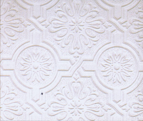 Circle Medallion And Embossed Design Tin Ceiling Paintable Wallpaper P32817