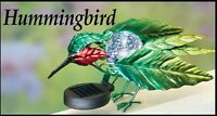 Solar Powered Lighted Hummingbird Fence Topper Garden Decoration Statue