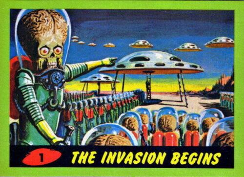 2012 TOPPS HERITAGE Mars Attacks 1962 réimpression carte 55 vert variante Base Set