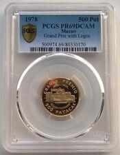 Macao 1978 Grand Prix With Logo 500 Patacas PCGS PR-69 Gold Coin,Rare