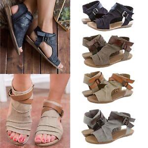 Women-Canvas-Gladiator-Flat-Sandals-Ladies-Summer-Causal-Open-Toe-Roman-Shoes