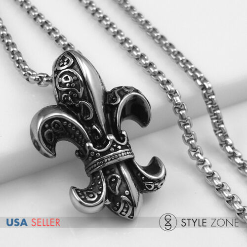 Men Stainless Steel Gothic Crown 3D BOY SCOUT Pendant Round Box Necklace NEW 13J