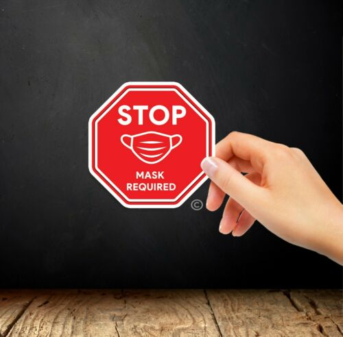 """3/"""" STOP Mask Required Sticker 2 Pack"""