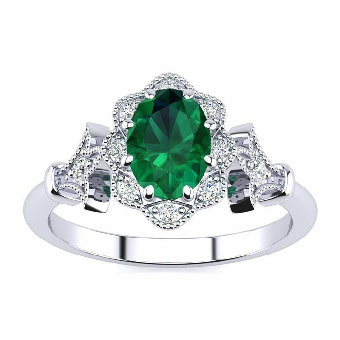 14 Kt gold 1 Ct Oval Shape Emerald and Halo Diamond Vintage Ring- in 3 colors
