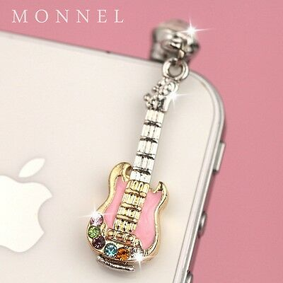 ip149 Cute Music Guitar Crystal Anti Dust Plug Cover Charm iPhone Cell Phone
